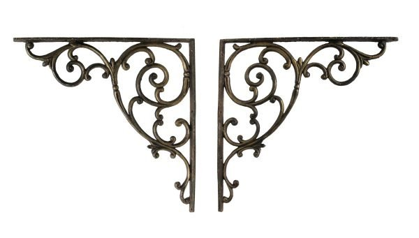 Shelf & Sign Brackets - Vintage Pair of Cast Iron Large Brackets