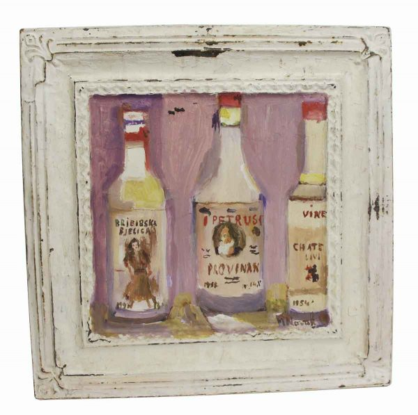 Tin Panels - Mladen Novak Acrylic Hand Painted Antique Tin Panel of Bottles