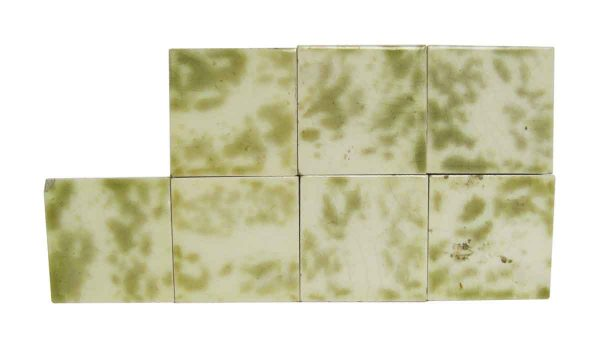 Wall Tiles - Antique Green & White 3 in. Square Tile Set