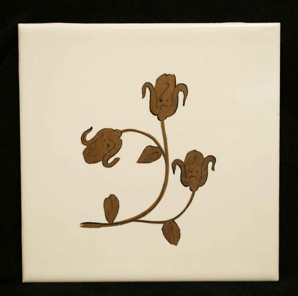 Wall Tiles - Antique White Tile with Gold Flowers