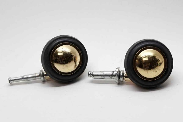 Casters - Pair of Polished Brass Caster Wheels