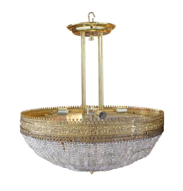 Chandeliers - Brass & Beaded Crystal Basket Chandelier