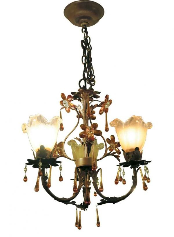 Chandeliers - Three Arm Iron & Crystal Chandelier with Glass Shades