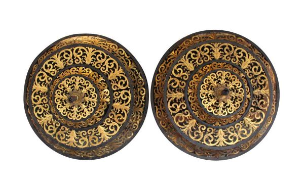 Decorative Metal - Pair of Decorative Iron & Gilded Bronze Vent or Light Covers