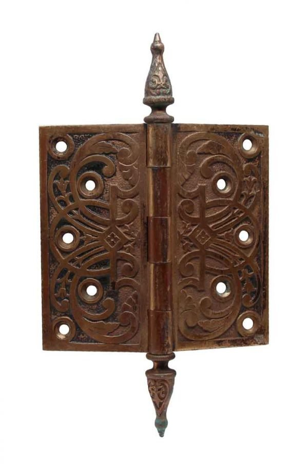 Door Hinges - 5 x 5 Steeple Tip Bronze Decorative Hinge