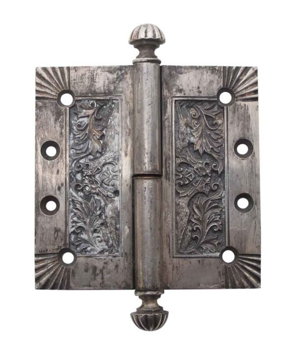 Door Hinges - Rare Nickel Over Bronze Fanciful Beast Door Hinge