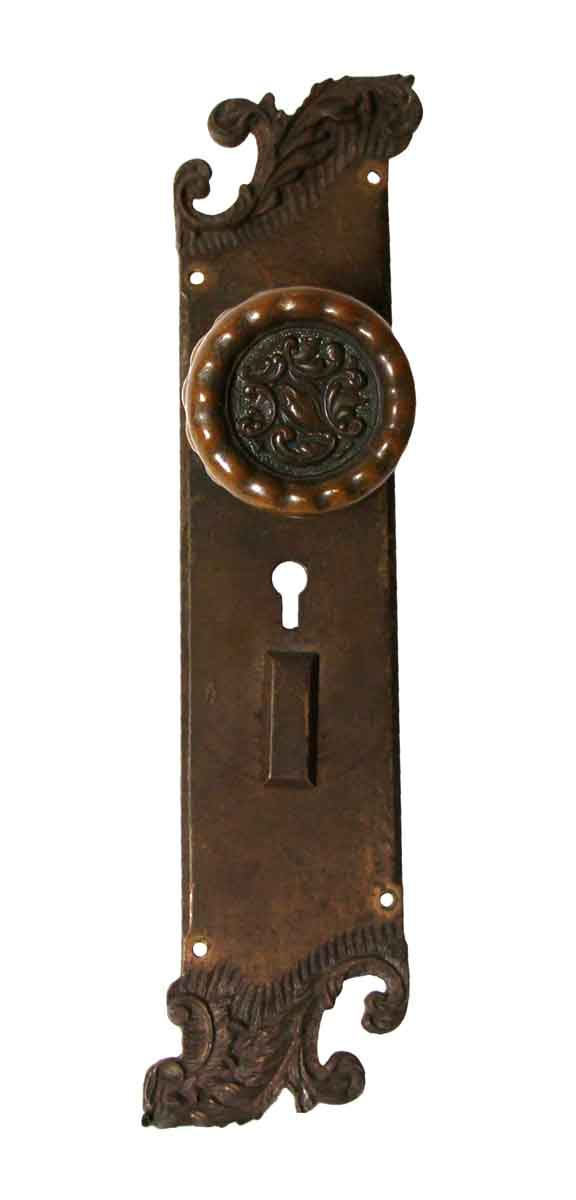 Door Knob Sets - Rococo Asymmetrical Eulalia Bronze Door Knob Entry Set