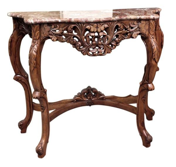 Entry Way - Carved Walnut Bombay Console Table with Marble Top