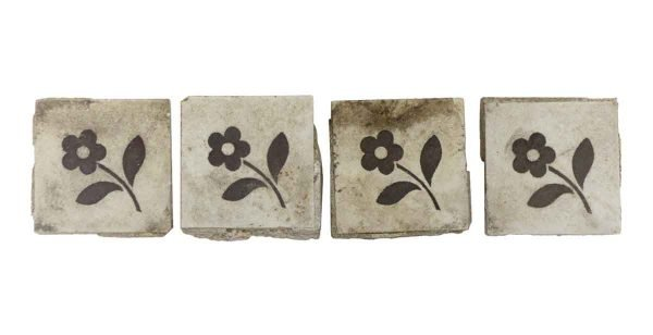 Floor Tiles - Set of 2.125 in. Square Tan Floral Tiles