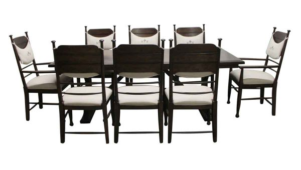 Kitchen & Dining - Extendable 7 Foot Trestle Dining Table Set with 8 Chairs