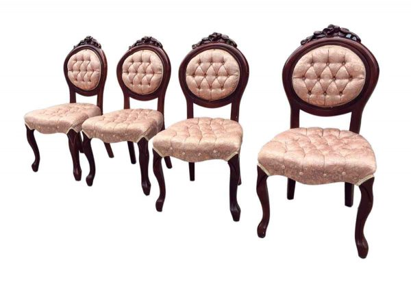 Kitchen & Dining - Set of Four French Dining Chairs with Tufted Pink Silk Upholstery