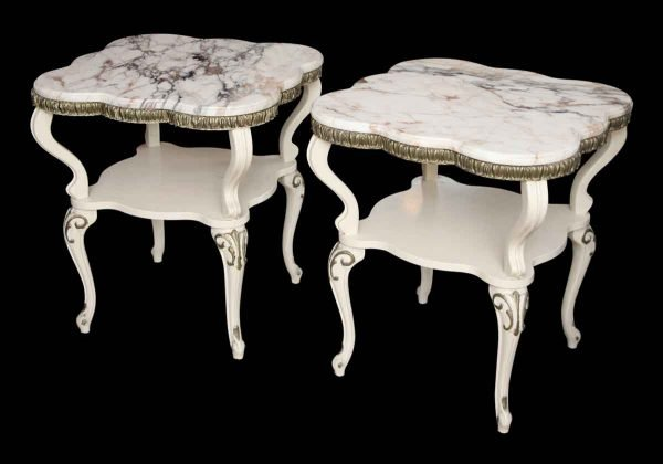 Living Room - Pair of French Provincial Marble Top Side Tables