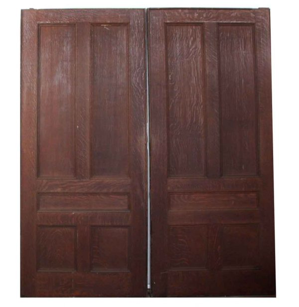 Pocket Doors - Pair of Gray & Brown Wooden Pocket Doors