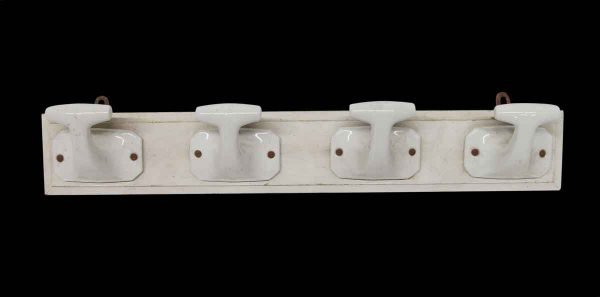 Racks - Imported White 4 Ceramic Hooks on Wood Plank