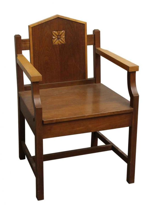 Seating - Mission Style Wood Chair with Carved Floral Motif