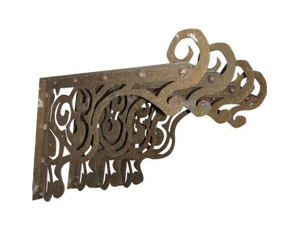 Shelf & Sign Brackets - Large Gold Painted Cast Iron Bracket Set