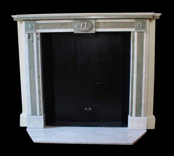 Waldorf Astoria - Waldorf Astoria Statuary White & Verde Marble Regency Mantel