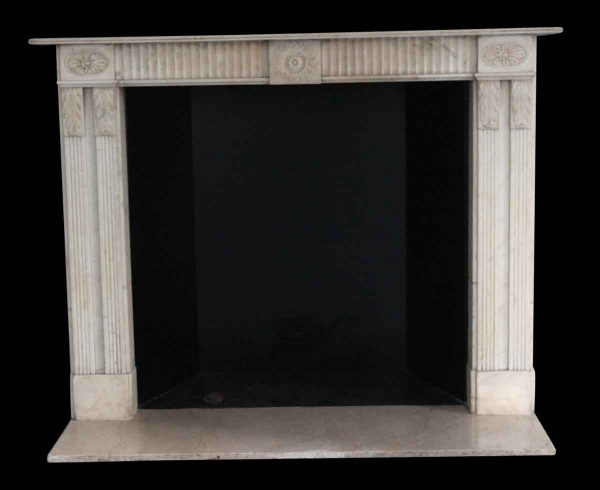 Waldorf Astoria - Waldorf Astoria White Carrara Marble Mantel with Floral & Leaf Motifs