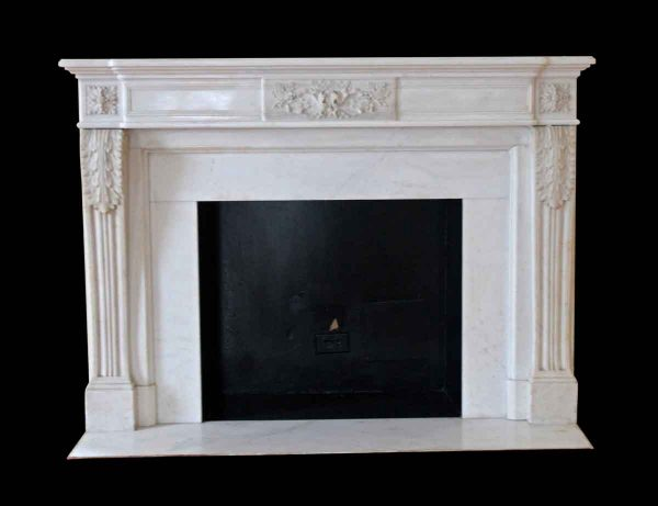 Waldorf Astoria - Waldorf White Marble Mantel with Acanthus Leaves
