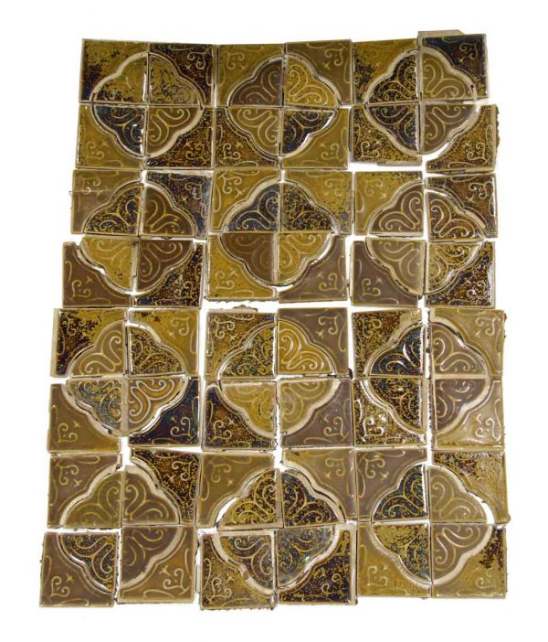 Wall Tiles - Salvaged Tan & Brown Spanish Style Tile Set