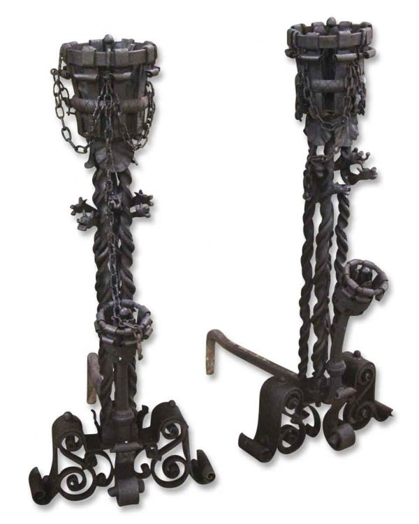 Andirons - Pair of Magnificent Wrought Iron Andirons with Scroll Detail