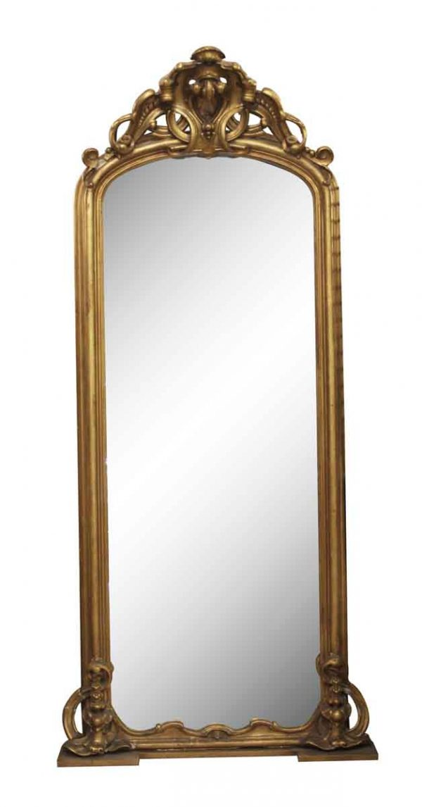 Antique Mirrors - Entryway Gilt Wood Pier Mirror with Matching Marble Top Base