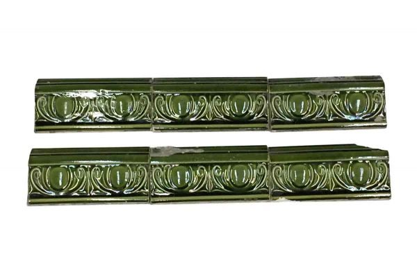 Bull Nose & Cap Tiles - Antique Green Decorative Ledge Tile Set