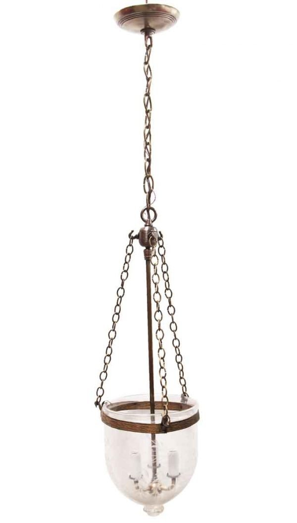 Down Lights - Etched Clear Bell Jar Crystal Pendant Light
