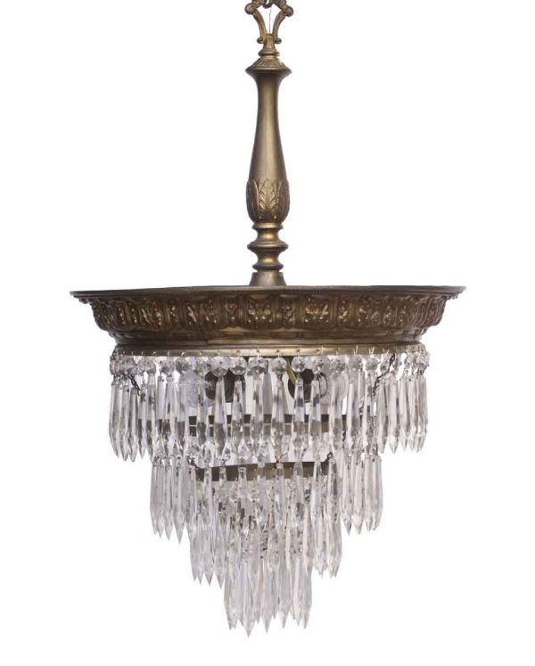 Down Lights - Restored Crystal Fixture with a Brass Finished Steel Rim