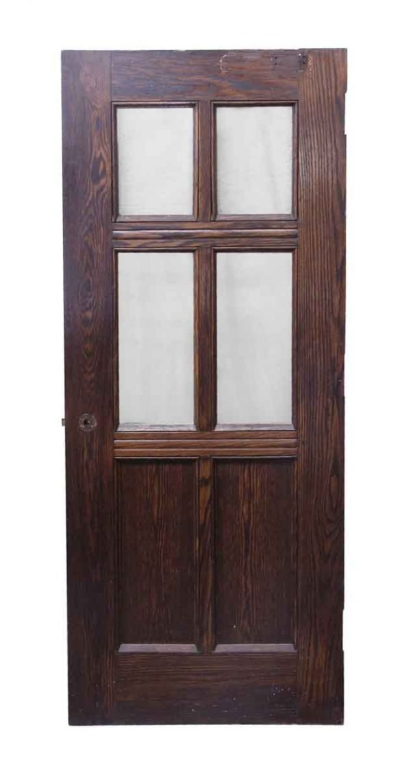 Entry Doors - 4 Glass Pane Oak Wooden Door