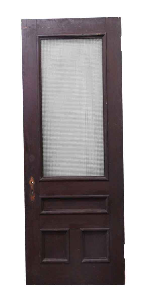 Entry Doors - Dark Tone Wood Door with Large Glass Panel