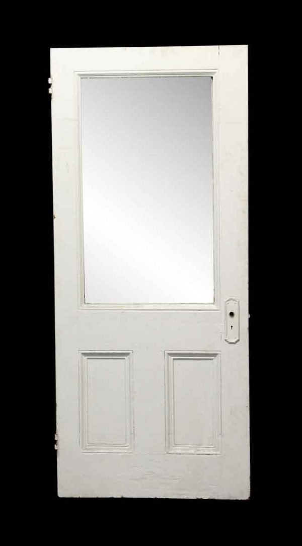 Entry Doors - Painted White Wooden Door with Glass Panel