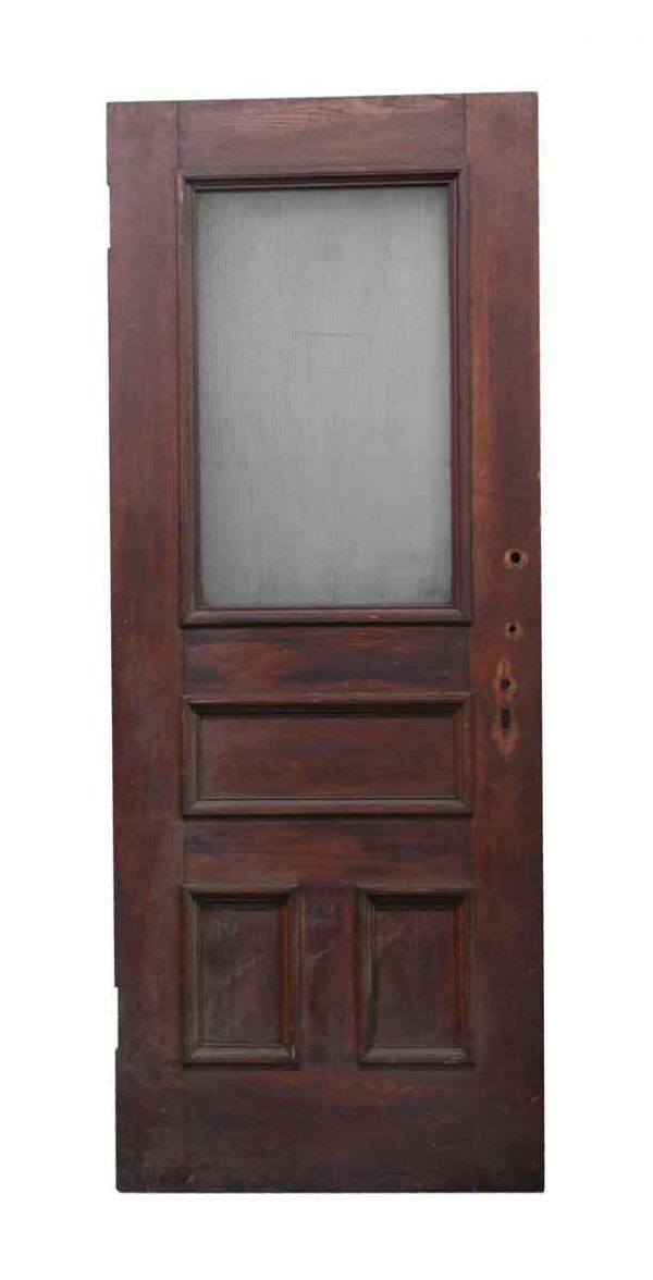 Entry Doors - Wooden Entry Door with Ribbed Glass Pane