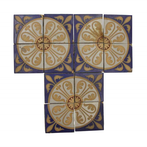 Floor Tiles - Minton 4.25 in. Colorful Quadrant Tile Set