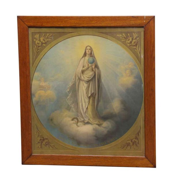 Religious Antiques - Large Wood Framed Virgin Mary Photo