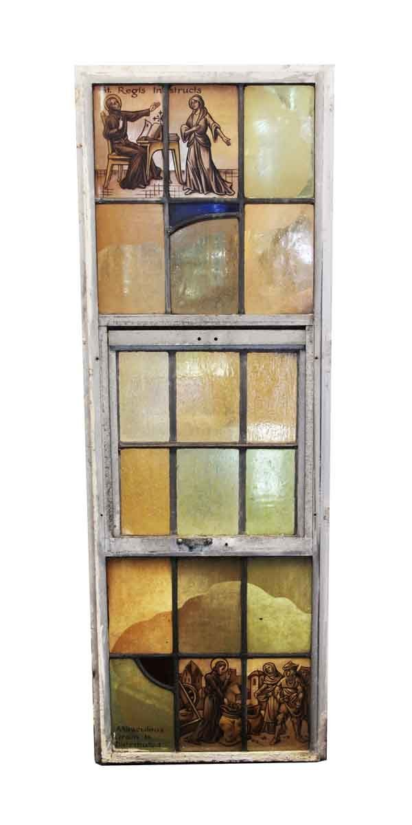 Religious Stained Glass - Stained Glass St. Regis Instructs & Miraculous Grain Is Distributed Aluminum Framed Window