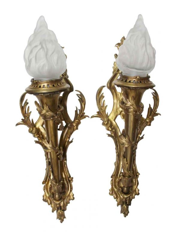 Sconces & Wall Lighting - Pair of Bronze Ornate Sconces with Glass Torch Shades