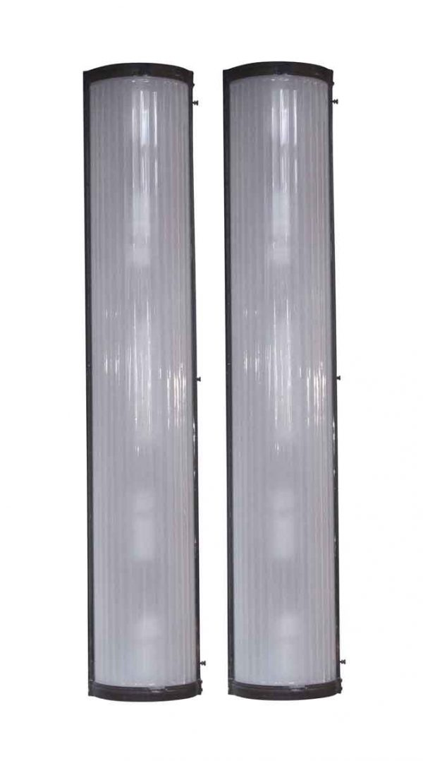 Sconces & Wall Lighting - Pair of Glass & Bronze Tall Sconces