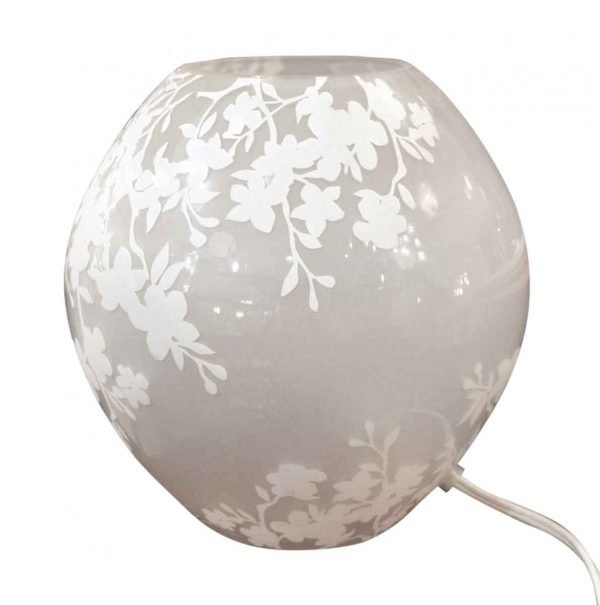 Table Lamps - Etched & Frosted Round Glass Table Lamp