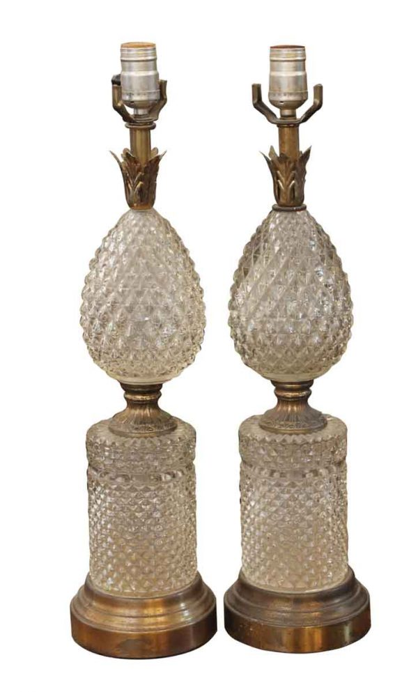 Table Lamps - Pair of French Crystal Pineapple Lamps