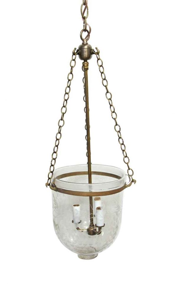 Up Lights - Restored Etched Crystal Pendant Bell Jar Light