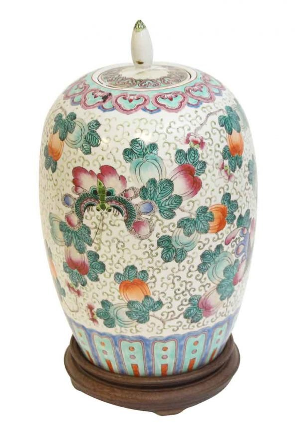 Vases & Urns - Oriental Ceramic Floral Vase with Wooden Base