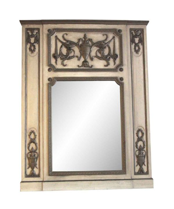 Waldorf Astoria - Carved Urn Motif Wooden Overmantel Mirror