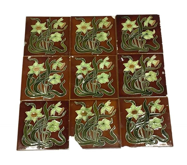 Wall Tiles - Antique Brown Floral Tile with Green Flowers
