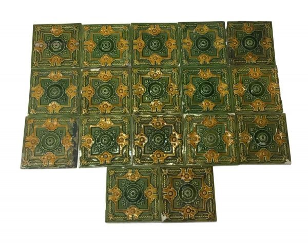 Wall Tiles - Antique Green & Yellow Decorative Raised Wall Tile Set