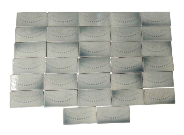 Wall Tiles - Antique Light Blue Dotted Swag 6 in. x 3 in. Tile Set