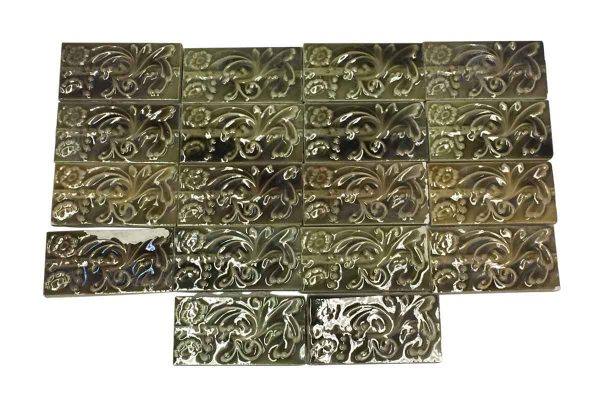 Wall Tiles - Set of Green & Brown Raised Floral Subway Tiles