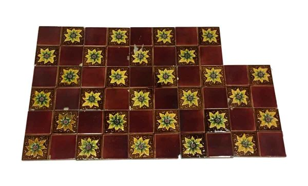 Wall Tiles - Vintage 4 Fold Yellow & Red Floral Tile Set
