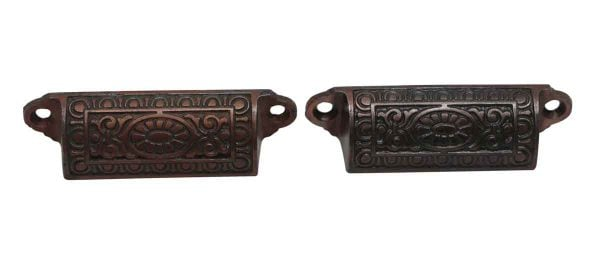 Cabinet & Furniture Pulls - Pair of Brass Plated Cast Iron Bin Pulls