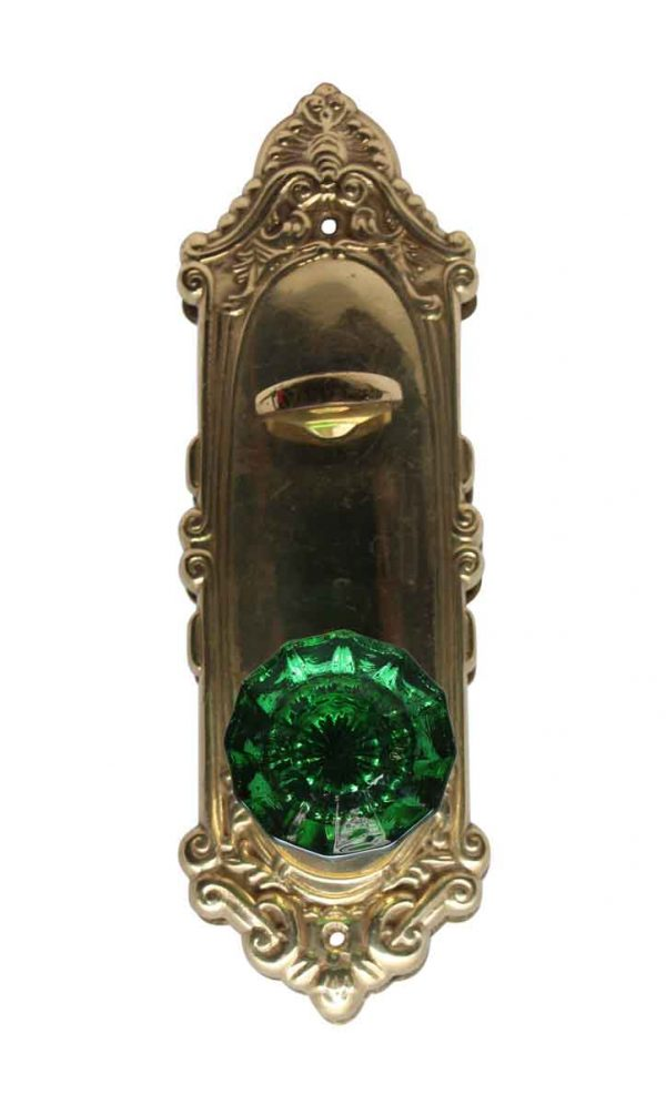 Door Knob Sets - Green Glass Door Knob with Polished Brass Back Plate